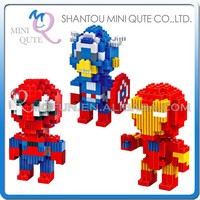 Mini Qute BALODY 3 styles Marvel Avenger super hero Captain America plastic Series connect building blocks boys educational toy
