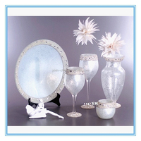 Table Centerpeice Silvery Home Deco Glassware Crackle Mosaic Crystal Glass Vase