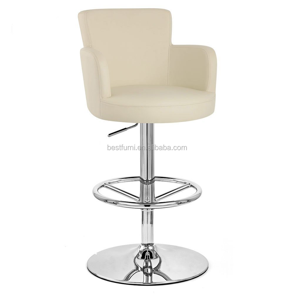 Cream Chateau Adjustable Height Swivel Bar Stool with Chrome Base