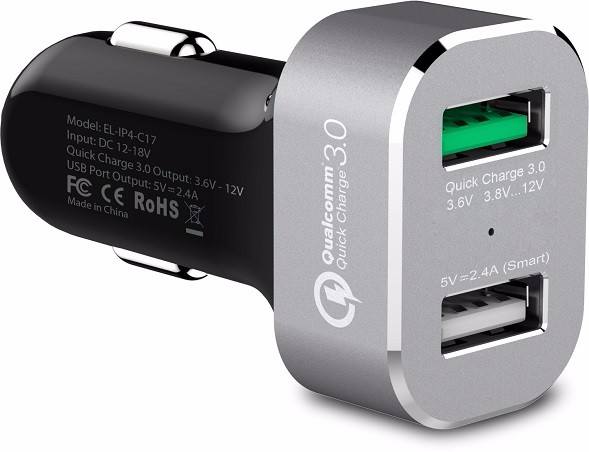 iFans 2 USB Ports Qualcomm Quickcharge QC3.0 Fast Electric Car Charger Adapter for iPhone and Samsung