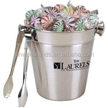 stainless ice bucket with  tongue