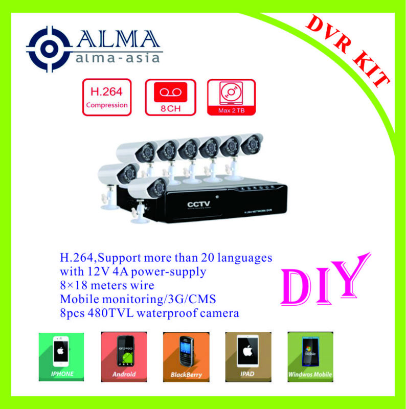 8CH H.264 DVR KIT with 8pcs 480tvl camera