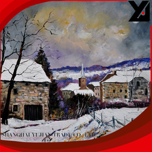 Abstract oil painting on canvas paint by number snow village landscape painting