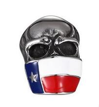 2017 personalized male masked punk skull flag stainless steel steel ring