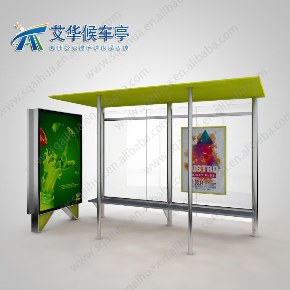 edelstahl und verzinktem stahl bus shelter mit werbung light box m bel im freien produkt id. Black Bedroom Furniture Sets. Home Design Ideas