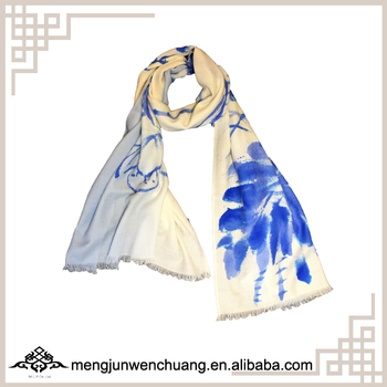 Mengjun Unique Design Hand-paint Lotus Pattern Print Scarf