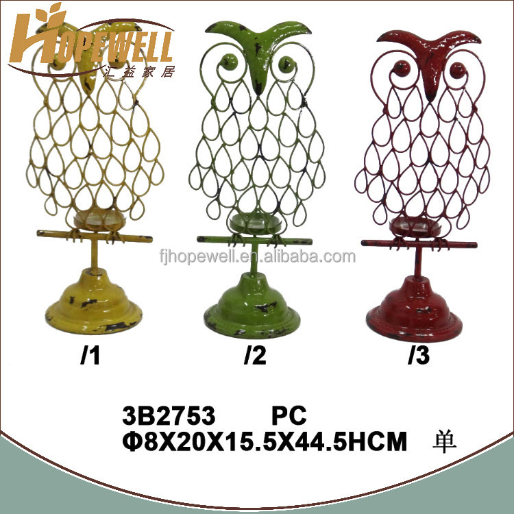 Cheap antique owl shape yellow iron different type of candle holder