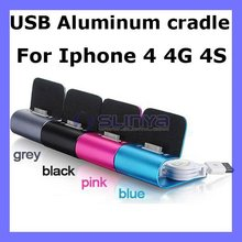USB Cable Mini USB Aluminum Dock Cradle Station Stand Charger for iPhone 4 4G 4S