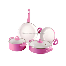 personalized kitchen utensils hot pink large capacity cooking pot and pan