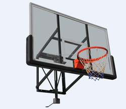 Tempered Glass Backboard Height-Adjustable Wall Mounted Basketball Hoop