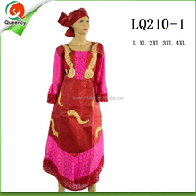 LQ210 Queency New Patterns Lace Design Borcade Bazin African Women Clothing with Head Tie