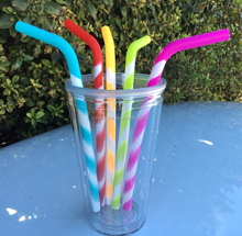 Food Grade Silicone Reusable Drinking Straws (5-pack)- Dishwasher Clean, Safe for Kids