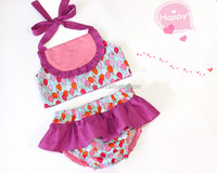Vintage Flower with Nice Bib Bathing suits High Quality Cotton Swimsuit for Baby Girls