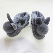 Cute Closed Toe Colorful rabbit Shaped Plush Slipper Shoes For Kids