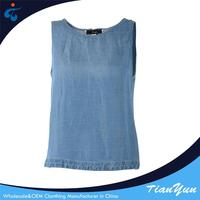 wholesale summer chambray girls demin sexy sleeveless blouse