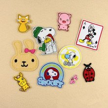 Animal Cartoon patches lovely cute dogs cats Embroidery patches hot Iron on for clothes Childen DIY accessory