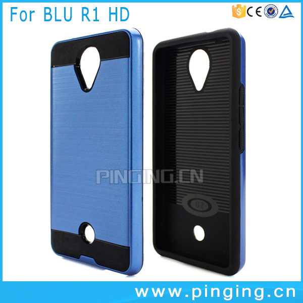 Hot Selling brushed skin back case cover for Blu R1 HD , 2 in 1 tpu pc case for Blu R1 HD , phone accessory for Blu R1 HD