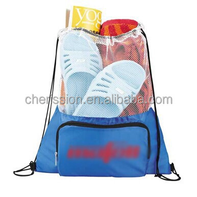 wholesale drawstring gym bag with front pocket