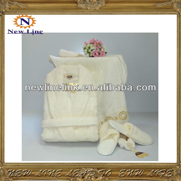 white robe set with slipper and towel classic hotel robe set