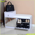 Foshan factory shoes display rack mirrored wooden shoes rack shoes storage ottoman