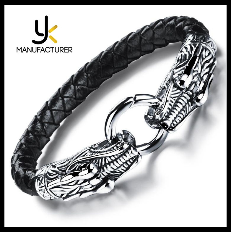 Wholesale Price Simple Style Mens Dragon Head Shaped Stainless Steel Leather Bangle Bracelet