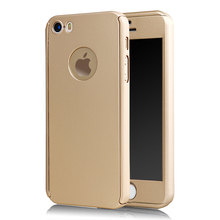 New arrival hot selling 360 All round protective case for iphone 5s case with tempered glass protector