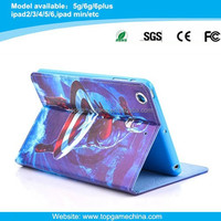 2015 new style leather smart folio case for ipad air 2 spiderman printing case