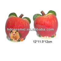 Apple shaped hot sale ceramic hamster cage,small pet house,ceramic pet cage