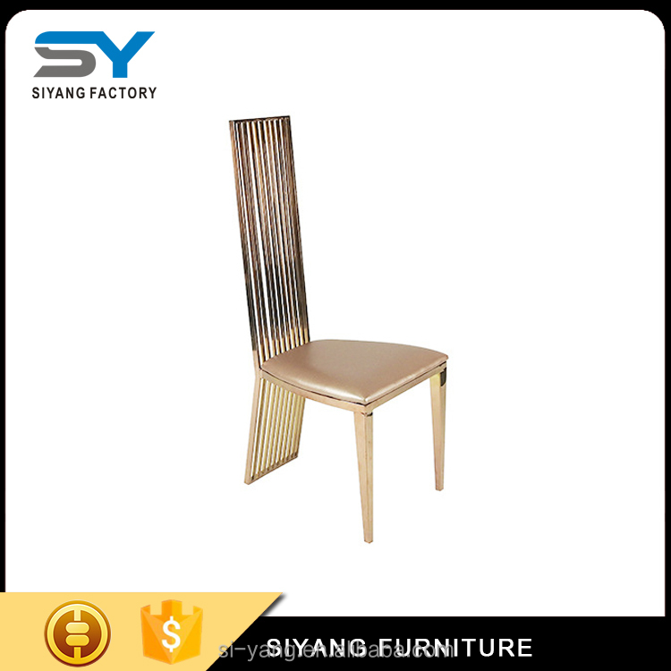 2017 gold steel chair with white pu covers CY014