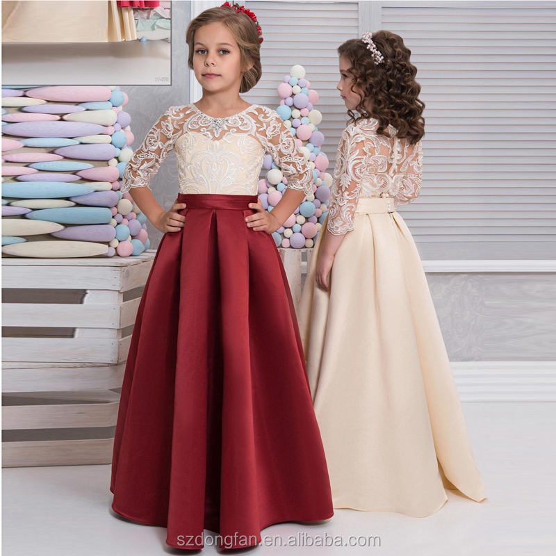 2017 Holy First Communion Dresses Lace Half Sleeve Graduation Gown