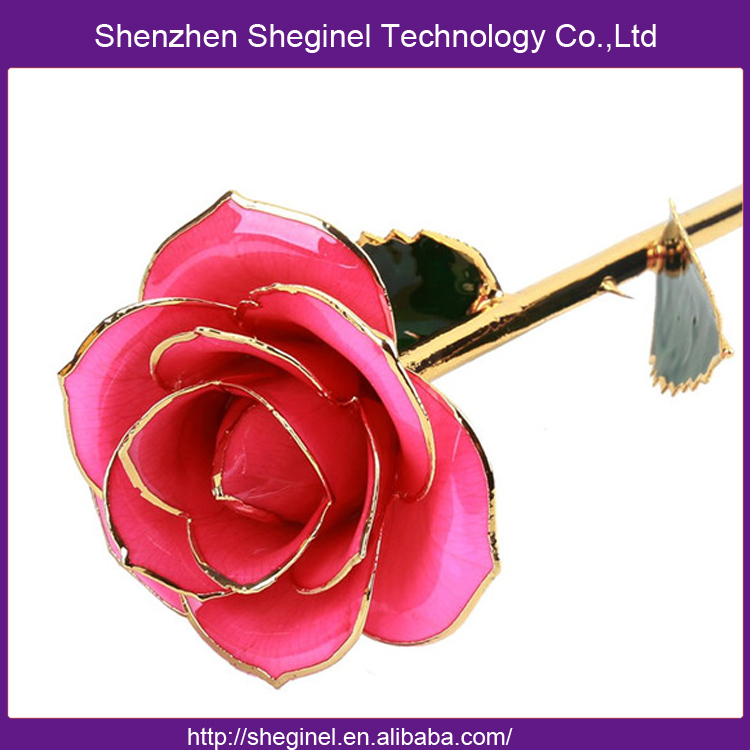 24K Gold Dipped Rose Real Natural Preserved Rose <strong>Flowers</strong> 24K Gold Plated <strong>Flower</strong>