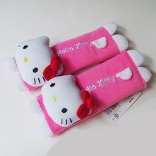2 PCs One Hello Kitty Design Multi Use Auto Car seat belt cover Plush Seat Shoulder Pad Cushio Toys