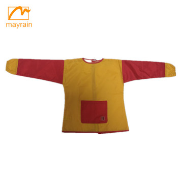 Children polyester drawing apron with long sleeve and pocket