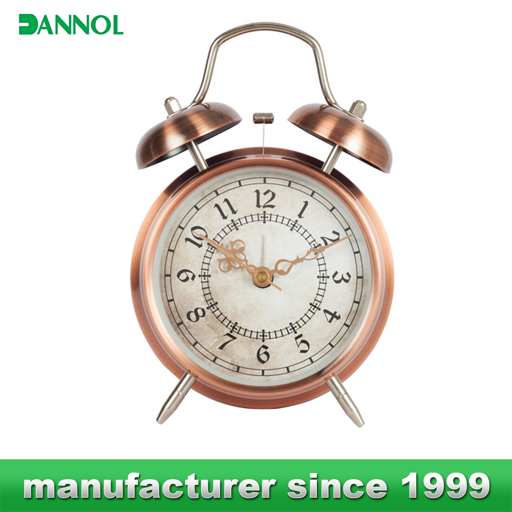 "4"" Vintage mini alarm table clock/hot selling metal twin bell alarm desktop clock"