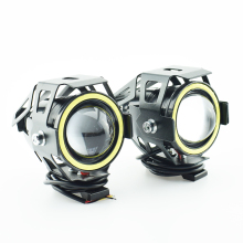 3000LM U7 motorcycle led headlight LED strobe Light with angel eye demon eye