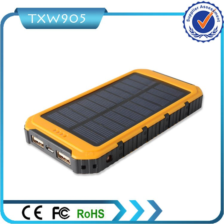 LED Emergency Torch 10000mah 2 USB Ports Solar Power Bank