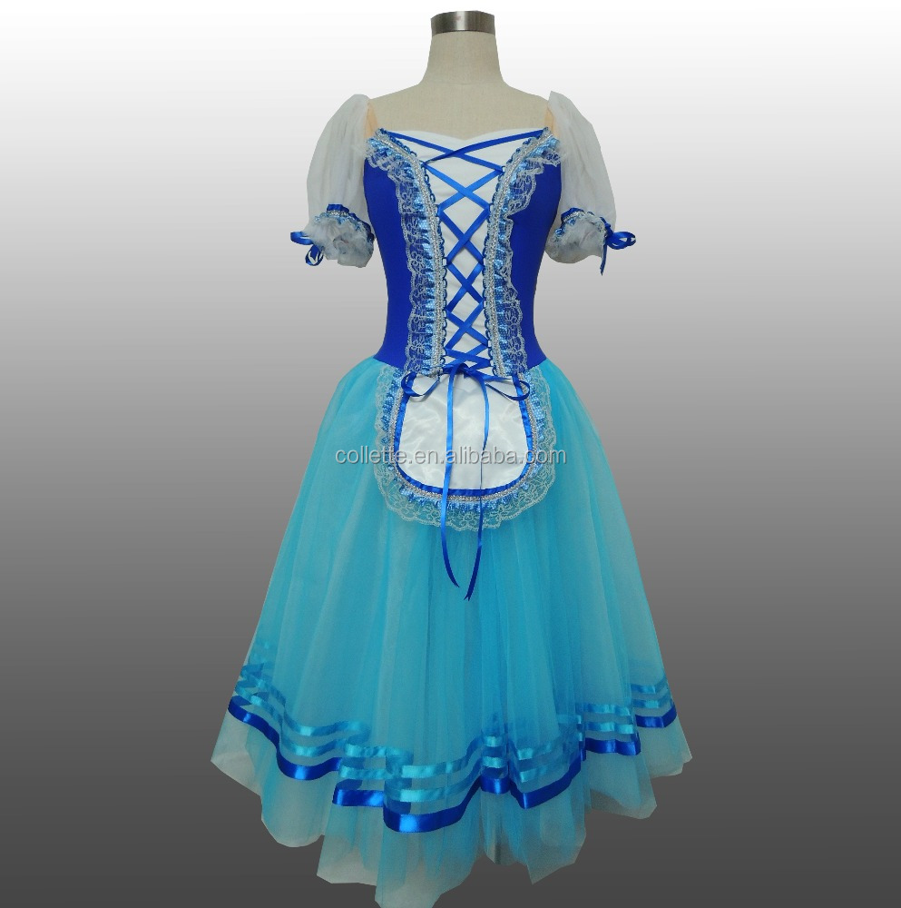 MB0802-2 Blue lycra leotard Long ballerina dance dress -Giselle ballet dress for kids