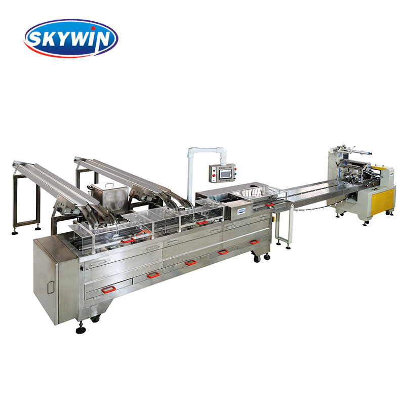 Cream/Jam/Chocolate Filling Two Lanes Single Color Biscuit Sandwich Machine connected Flow Packing Machine