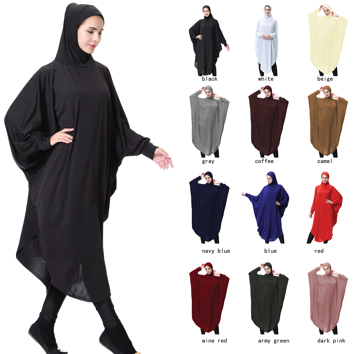 New Style Fashionable Islamic Elegantly Muslim Abaya Jilbab Hip Length Khimar