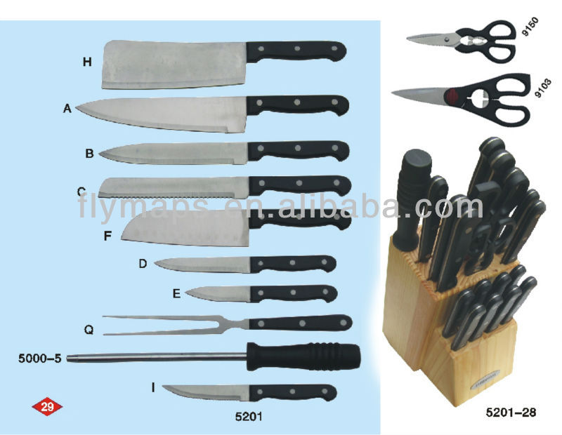 28 pcs stainless steel chef knife, royal kitchen knife set with holder