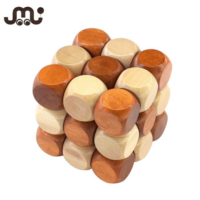 Brain training small educational 3D wooden cube puzzle