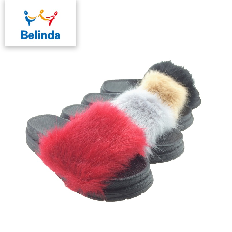 wholesale soft lady slipper shoe winter <strong>slides</strong> with fur