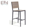 Outdoor aluminum plastic wood bar table chair set
