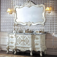 High-End Royal Glossy White Wooden Bathroom Vanity, Luxurious Traditional Bathroom Furniture for Master Bedroom WTS319