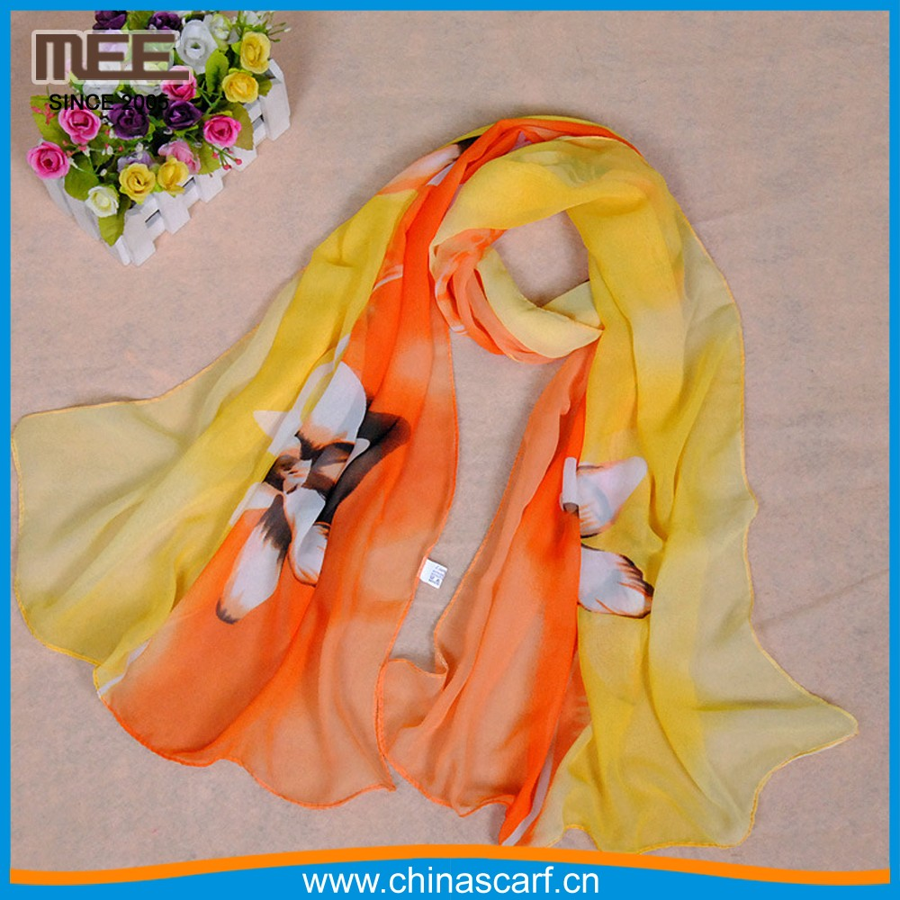 one layer yellow and orange morning glory women affordable silk scarf