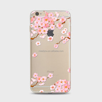 Pink Sakura Printing TPU phone case Soft transparent phone cases For iPhone 4 4S 5C