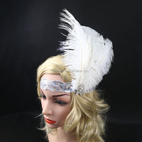 Wholesale Handmade Halloween Flapper Sequin Headpiece White Feather Headband