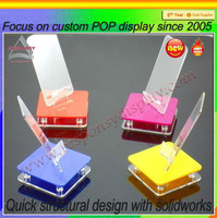 Foldable acrylic cell phone /mobile phone holder for desk with base