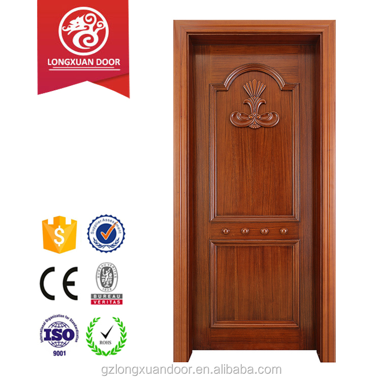 Higher quality solid wood door design with hand carved flower for interior room application