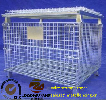 Large heavy duty transport cage several layers stackable collapsible storage bins anti corrosion wire storage cage without feet